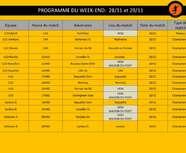 Programme du week-end: 27/11 et 28/11: sous réserve modifications